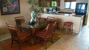The dining area is conveinently located betweeen the kitchen and living area.