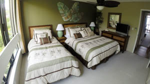 The Garden Room has one queen size bed and one twin.